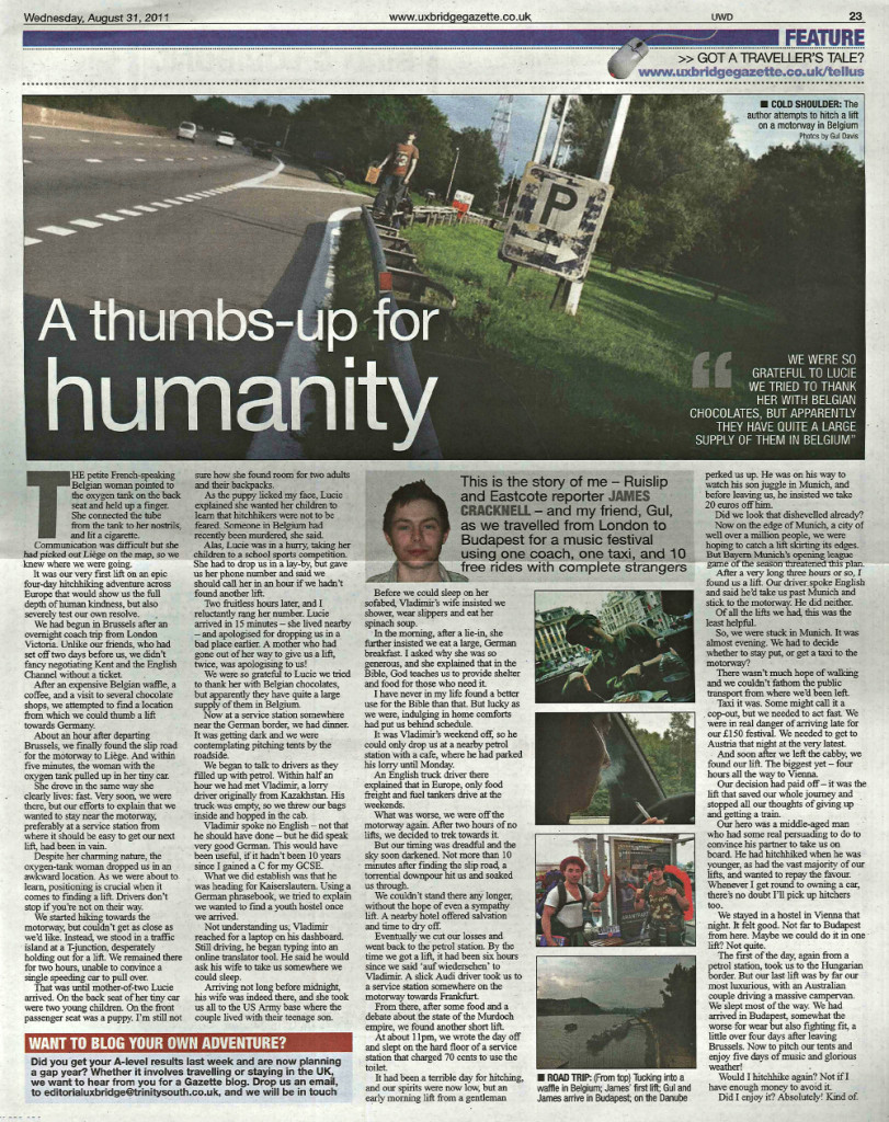 A thumbs-up for humanity