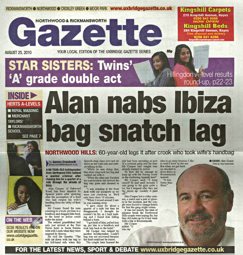 Alan nabs Ibiza bag snatch lag
