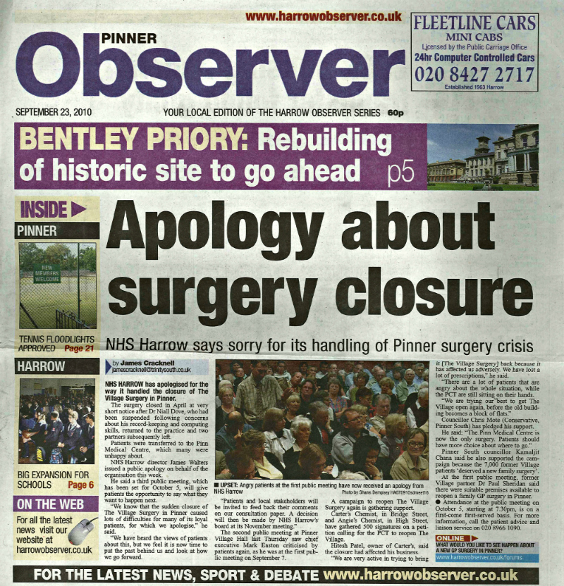 Apology about surgery closure